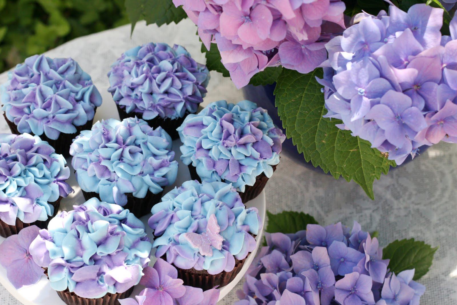 Cupcakes de Hortênsias