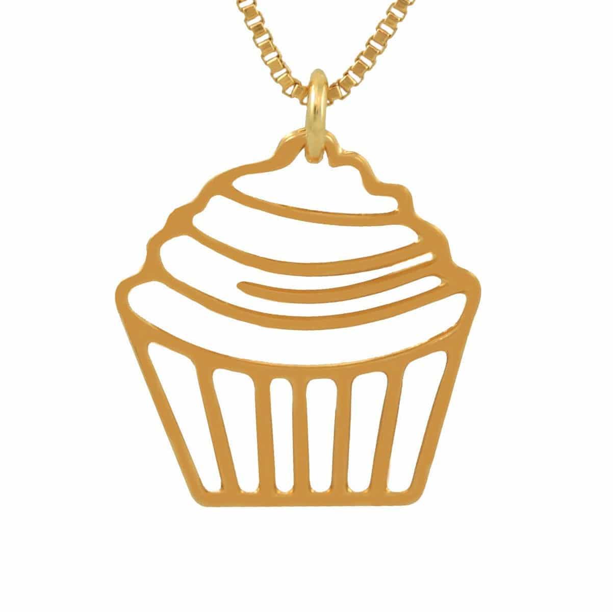 Colar de cupcake banhado a ouro