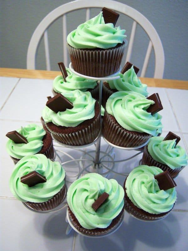 Cupcakes de chocolate com menta