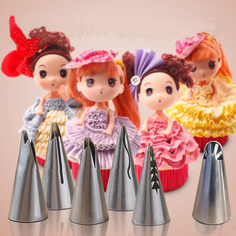 6pcs-set-wedding-Cake-design-cream-decorating-stainless-steel-Tips-Tulip-Barbie-skirt-dress-Russian-piping